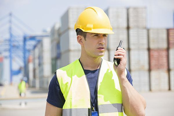 Man using two-way radio