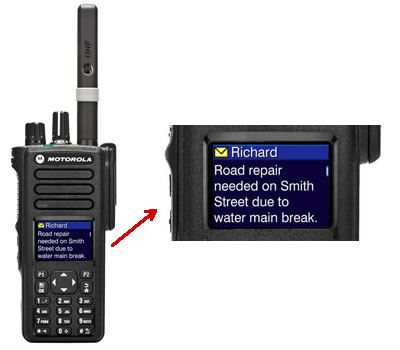 Text message on two way radio